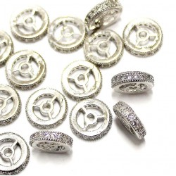 """Spacer with zircons """"LUX"""" 10x2,5mm 1pcs. (F13L1004)"""