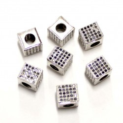 "Spacer with zircons ""LUX"" 7x7mm 1pcs. (F13L1005)"