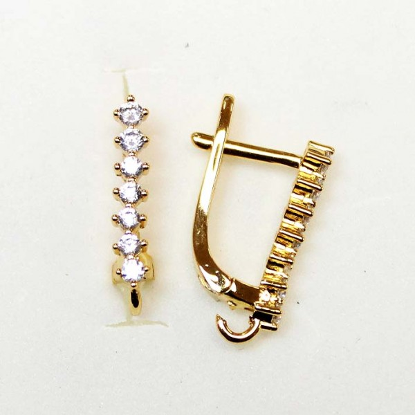 """Earring fittings with zircons """"LUX"""" 17x3mm 2pcs. (F02L3082)"""