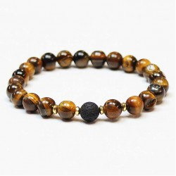 Men bracelet Tiger's Eye/Lava/Hematite (370830)