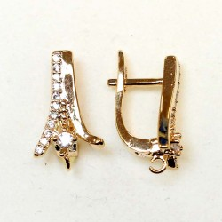 "Earring fittings with zircons ""LUX"" 18x9mm 2pcs. (F02L3098)"