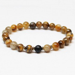 Men bracelet Tiger's Eye/Agate/Hematite (370832)